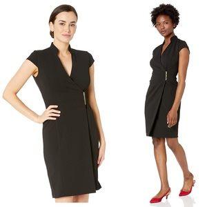 Calvin Klein Cap Sleeve V-Neck Wrap Dress 0P